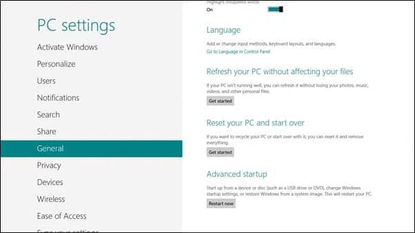 windows 8 Advanced Options