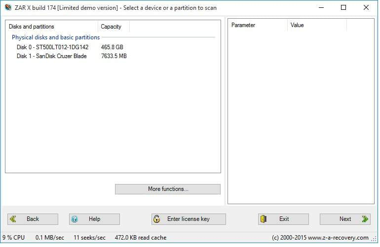 scan drives for deleted photos in zar x recovery