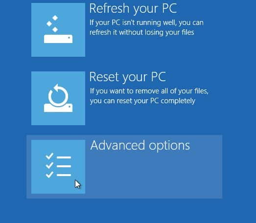 Advanced Options on windows 10
