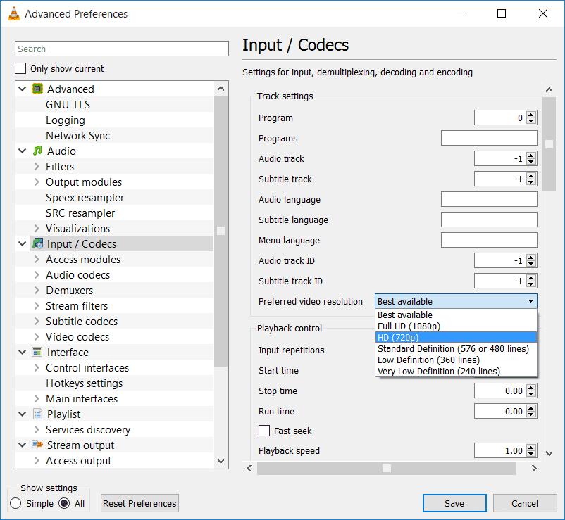 vlc change stream quality