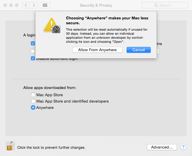 enable allow from anywhere o mac