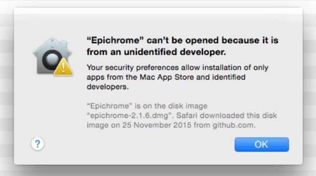 unidentified developer warning on mac