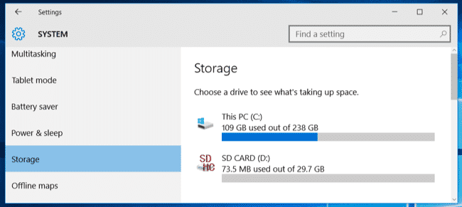 Windows 10 Storage Options 1