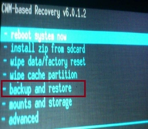 CWM recovery menu