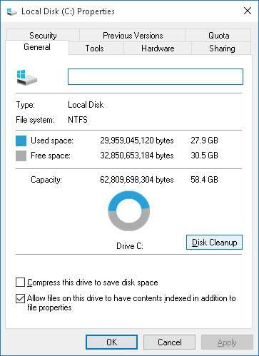 Free-diskspace-properties