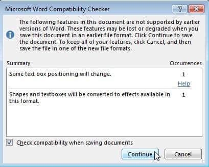 Microsoft Word Compatibility checker