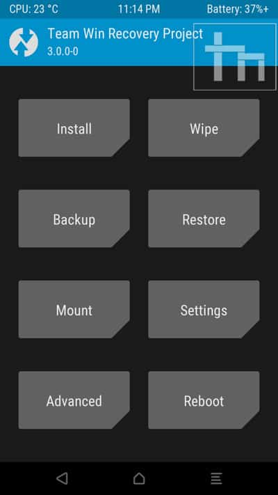 twrp menu screen