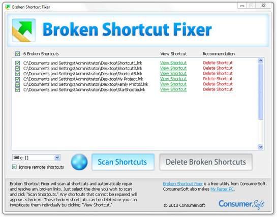 remove broken shortcuts windows