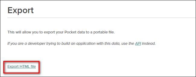 export instapaper html