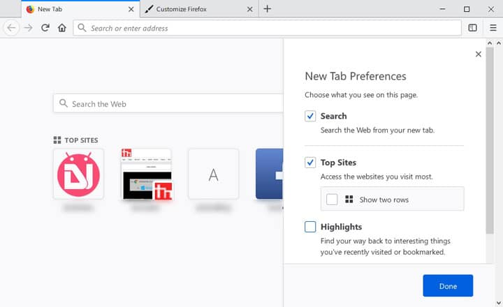 tab preferences in firefox