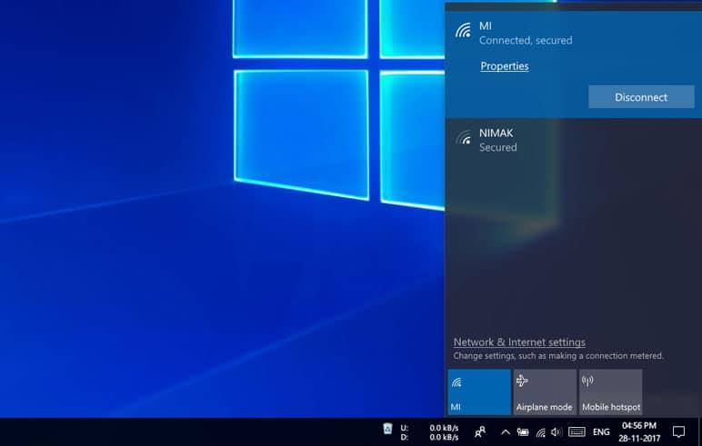 network properties windows 10