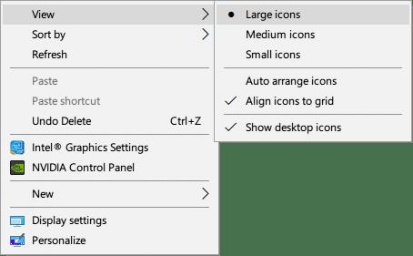 windows desktop menu