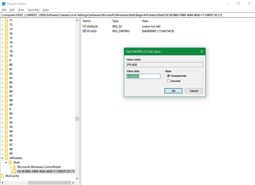 Registry edit FFLAG value