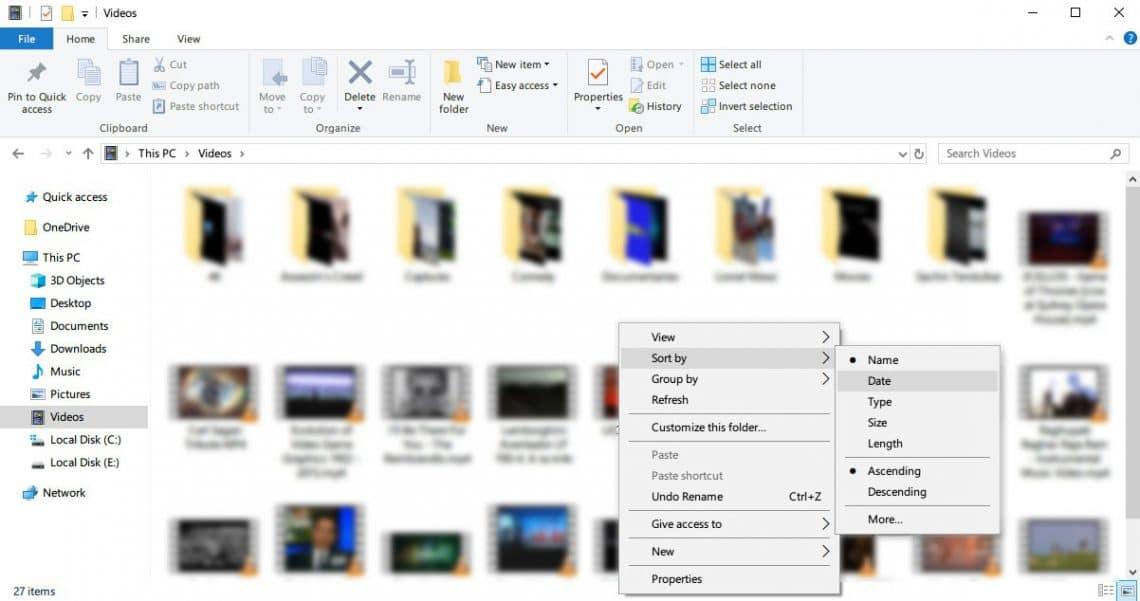 windows 10 file sorting options