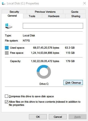 Windows 10 disk cleanup