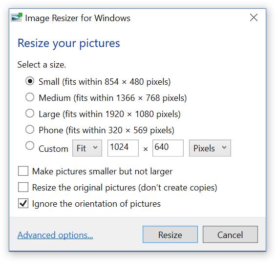 Resize Images on Windows