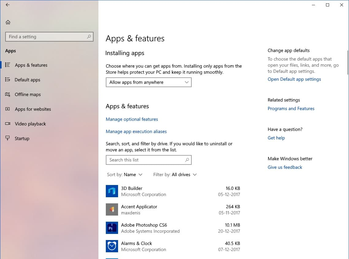 Windows 10 apps and features