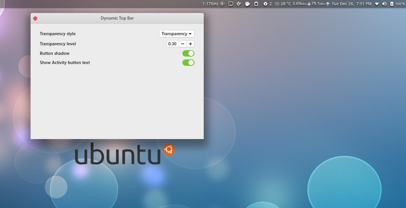 dynamic top bar gnome extension