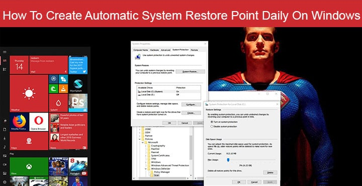 Automatic restore point windows 10
