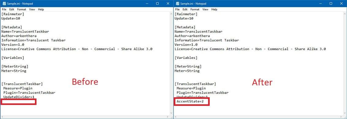 Taskbar transparency settings