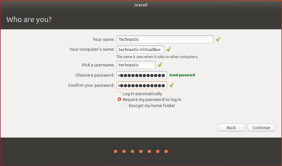 ubuntu username and password
