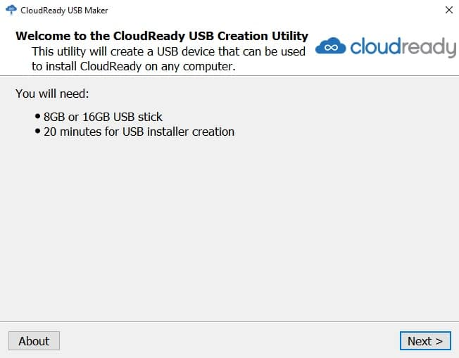 cloudready usb creation utility