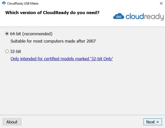 cloudready 32-bit and 64-bit versions