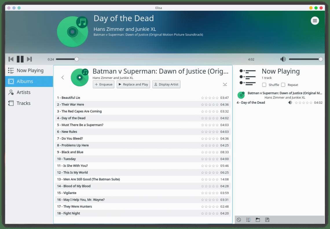 Elisa Music Player interface