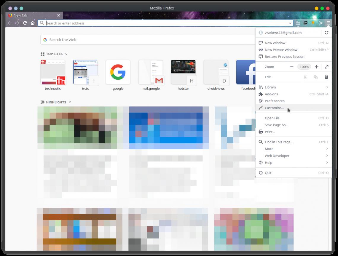 Firefox customization settings