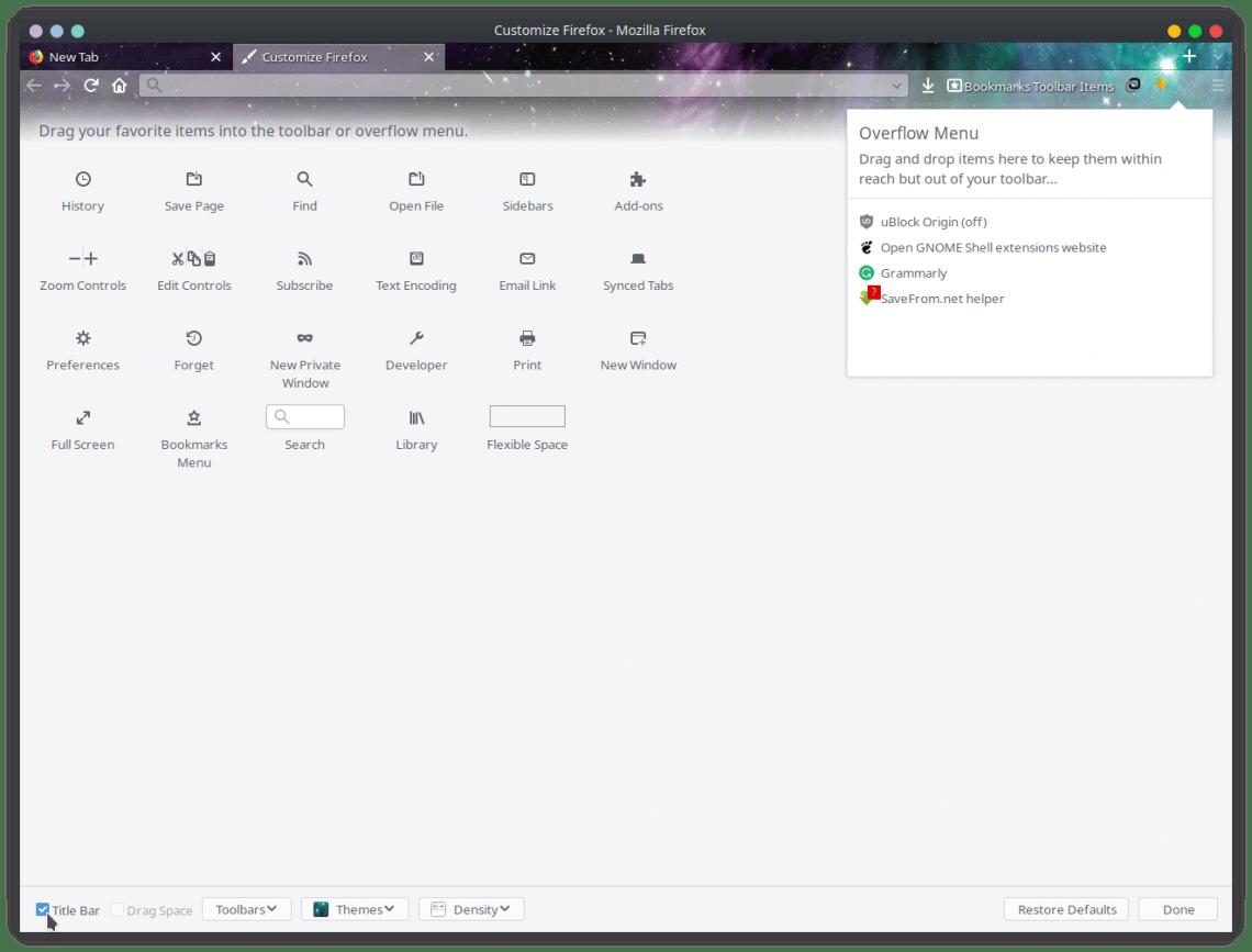 Firefox title bar