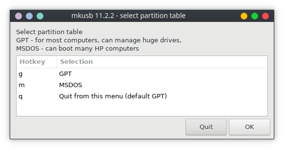 select partition table
