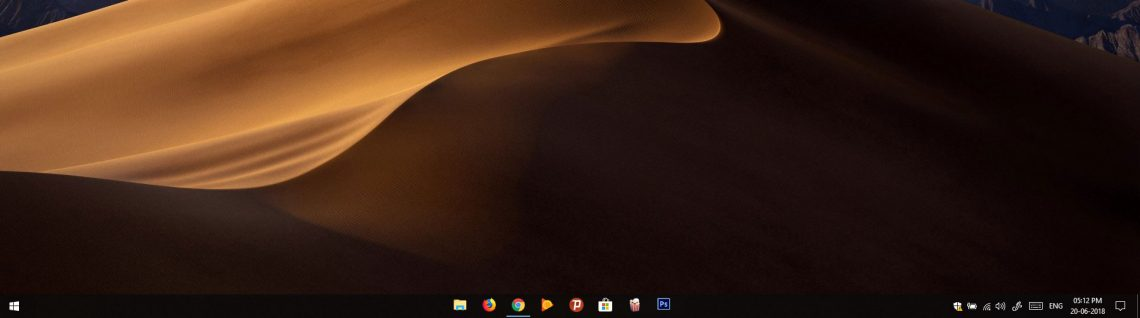 windows 10 center taskbar icons