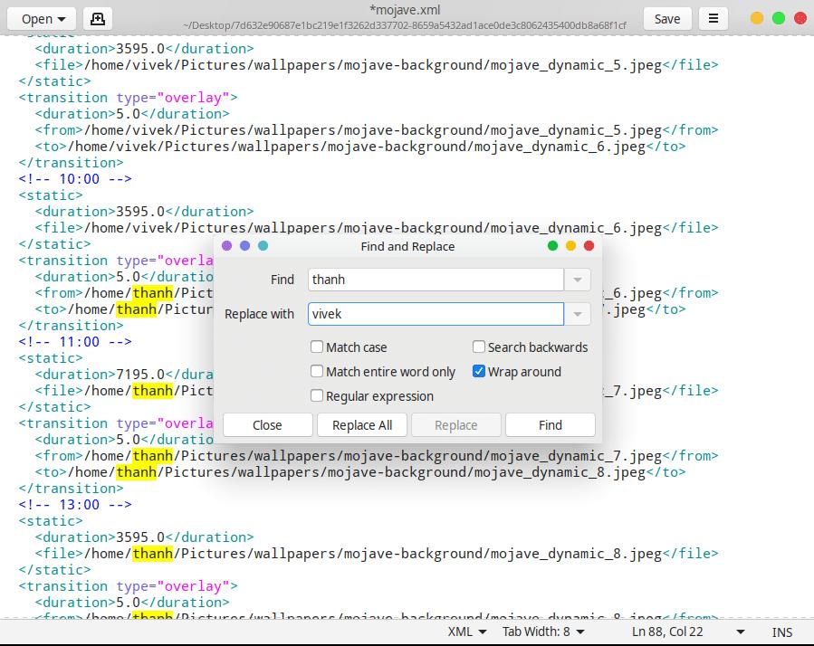 Edit Mojave XML