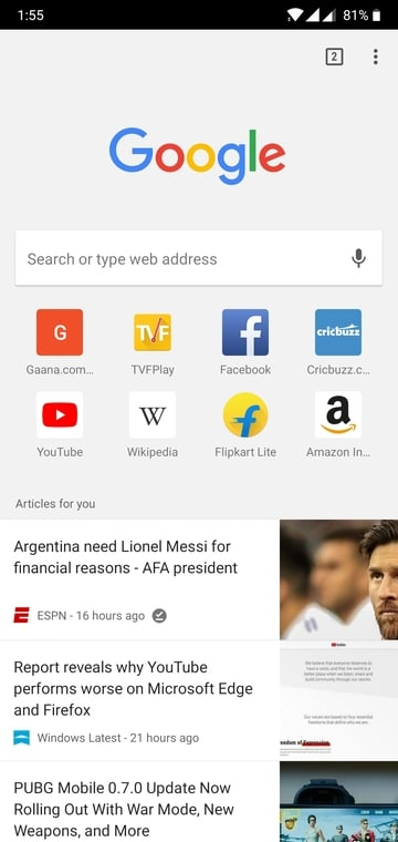 chrome for android article suggestion