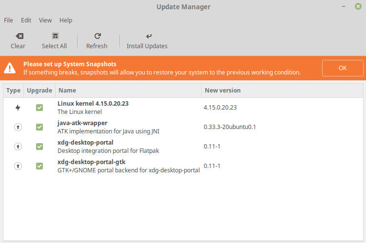Linux update manager