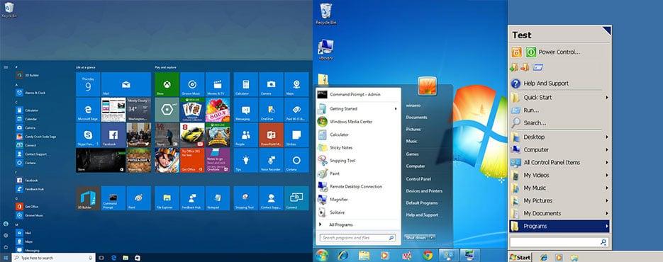 windows 10 menu and desktop