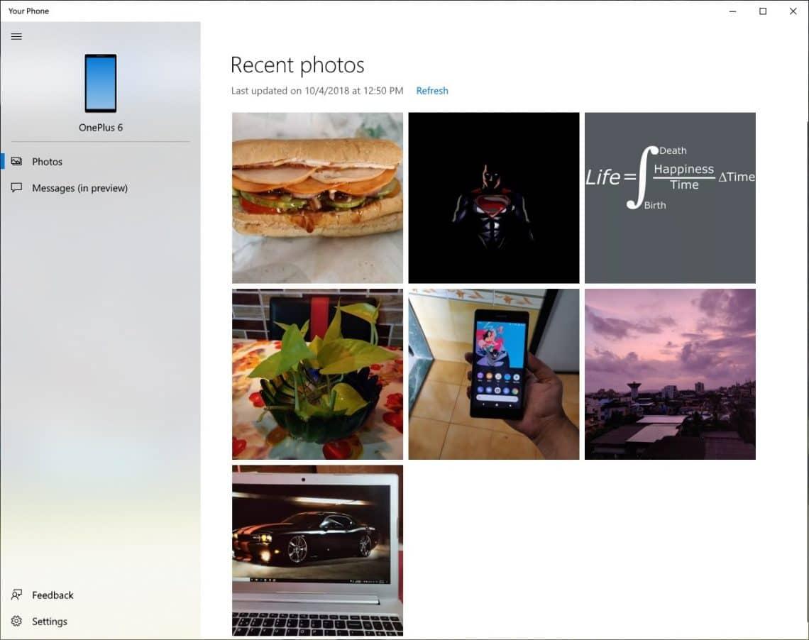 Your Phone on Windows 10