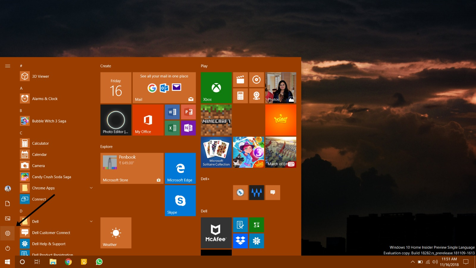 Click on the Settings icon inside Windows 10 Start Menu