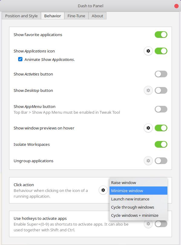 Windows Taskbar behavior Ubuntu