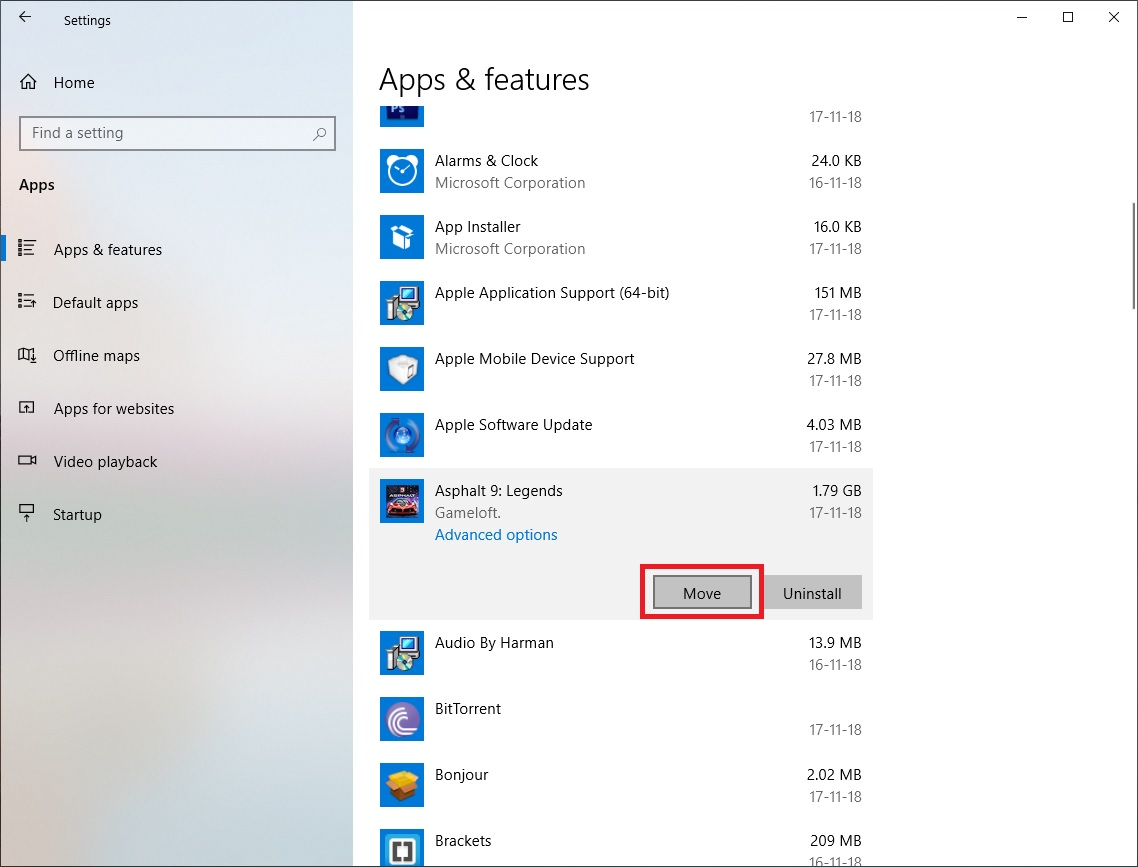 move installed apps to a different drive