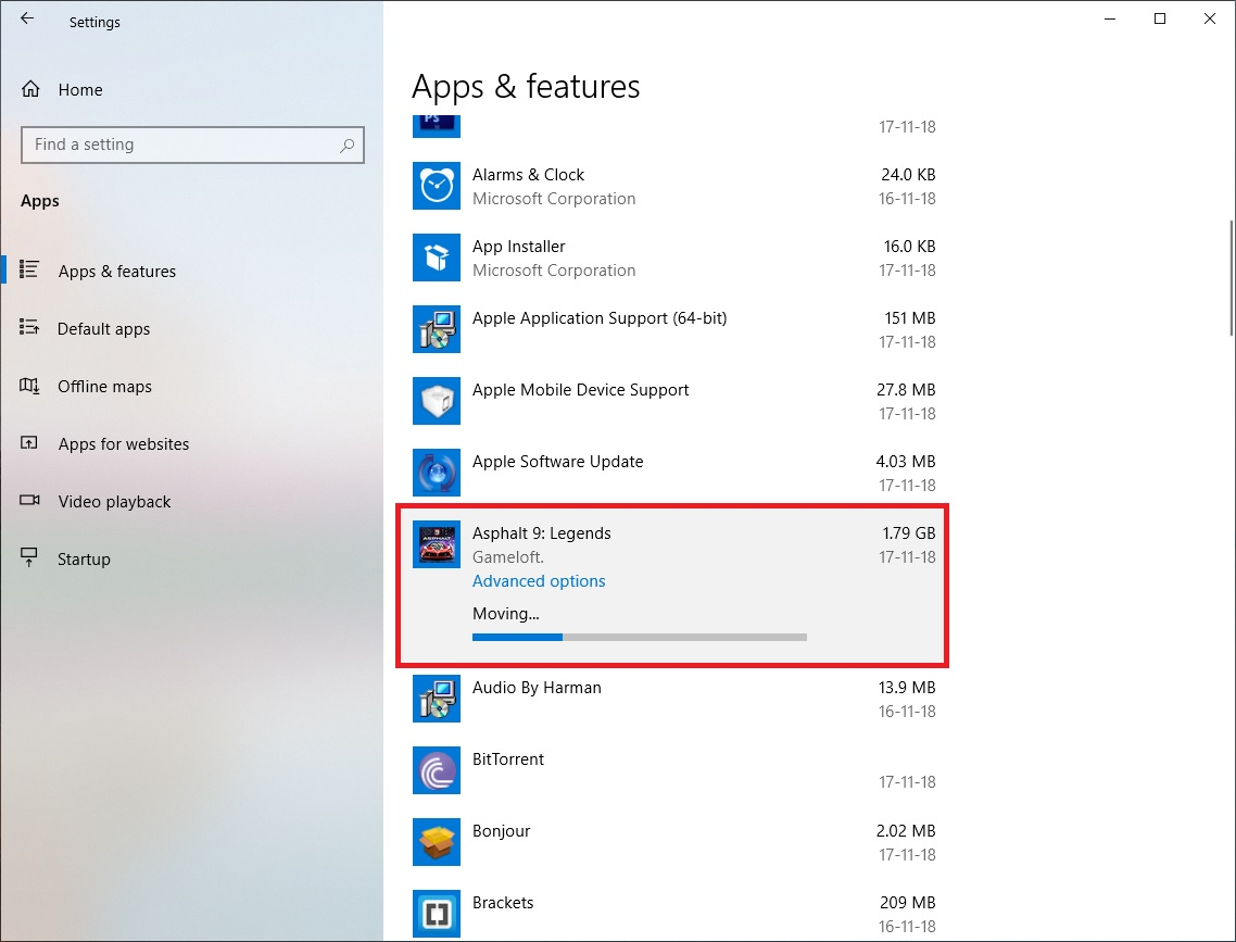 moving installed app data windows 10