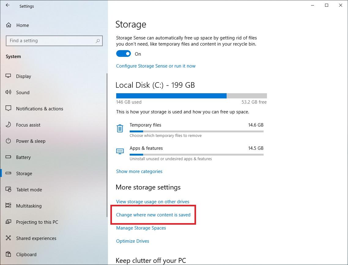 change storage settings windows 10