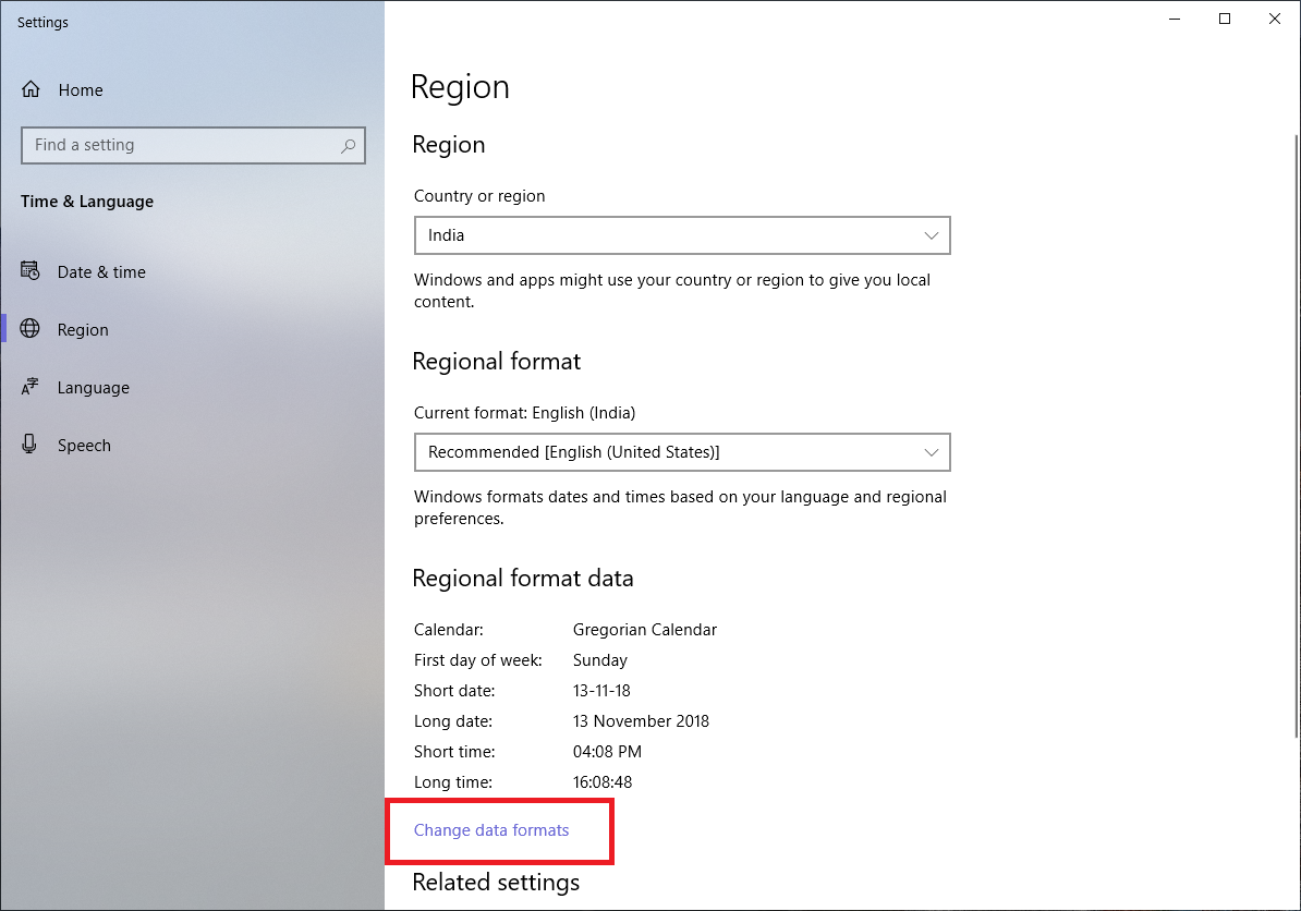 change date format windows 10