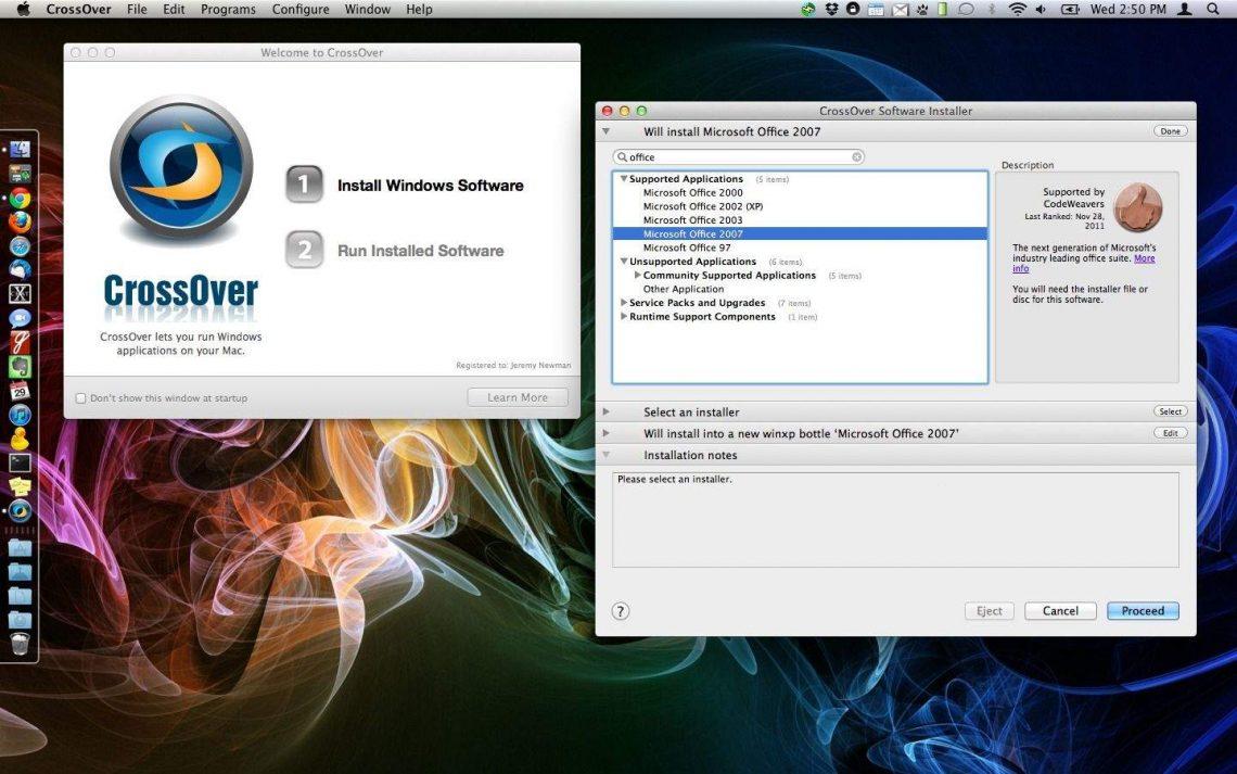 crossover windows software installer