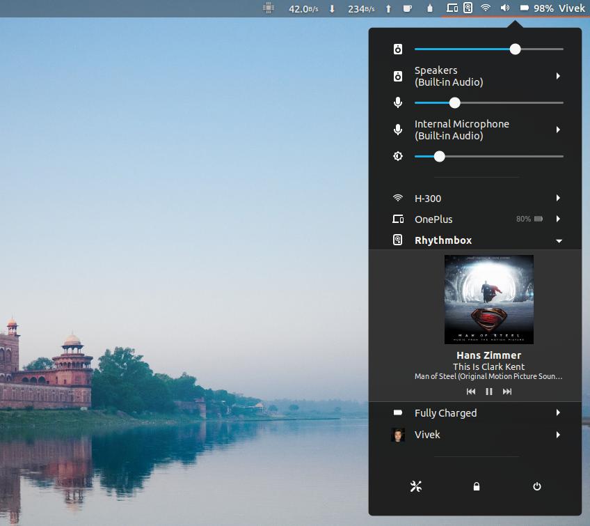 Media Controls in Ubuntu System Tray
