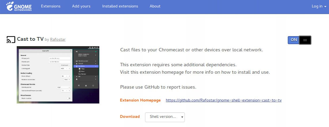 Cast to TV Gnome extension