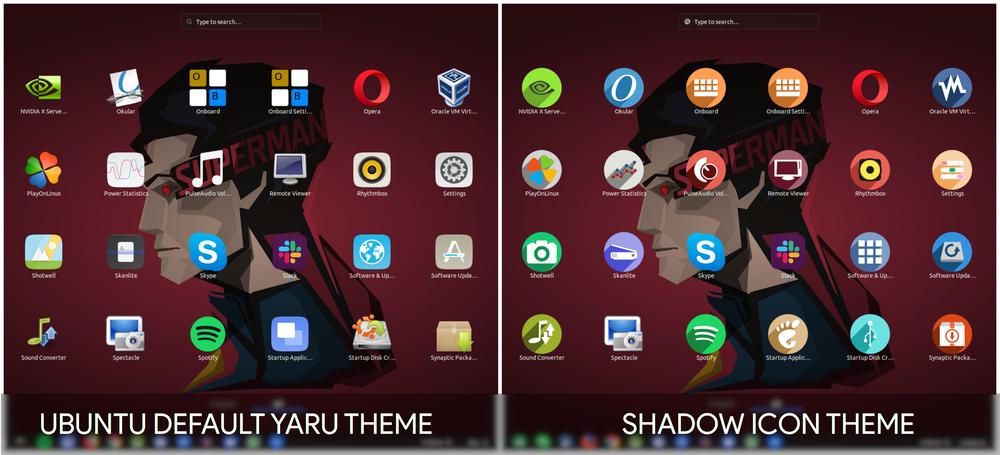 Ubuntu Yaru vs Shadow Icon theme