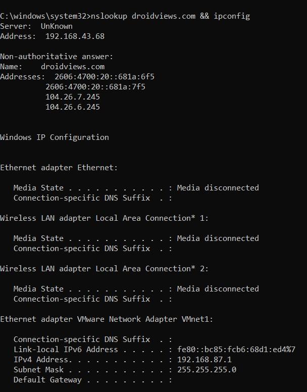 multiple commands prompt