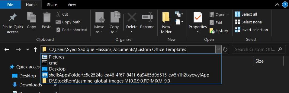 file explorer Address shortcut