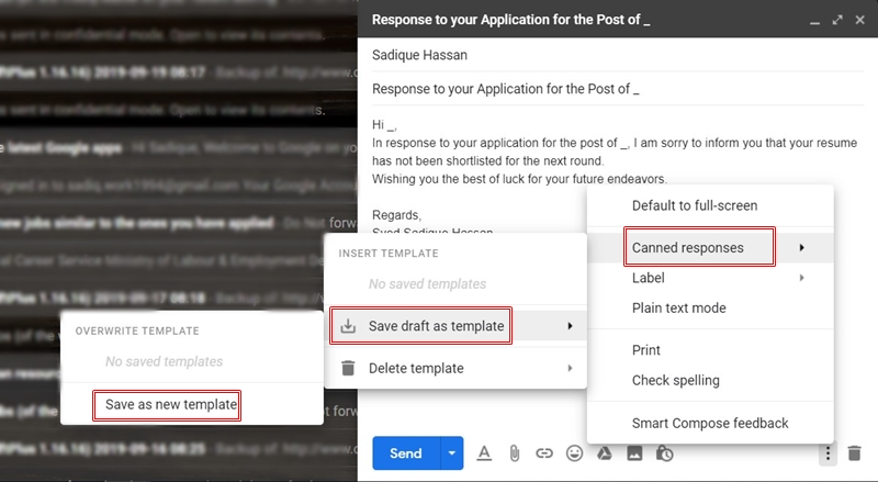 canned responses option in gmail